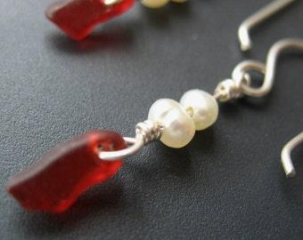 Extremely Rare Red Sea Glass Earrings - Sterling w\/Freshwater Pearls, Jewellery