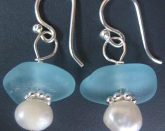 Aqua Blue Genuine Sea Glass Earrings - Sterling Silver, Seaglass Jewelry
