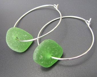 Emerald Ocean - Green Genuine Sea Glass Earrings - Sterling Silver Hoops