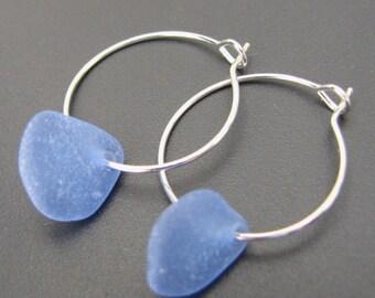 Soft Blue Ocean - Genuine Sea Glass Earrings - Sterling Silver Hoops
