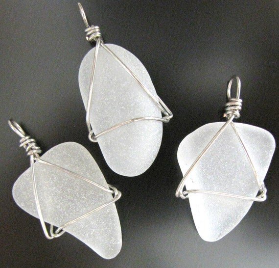 Sea Glass Jewelry, Bridal pendants, Wedding Party - Frosty, Three Pieces, White Seaglass, Jewellery