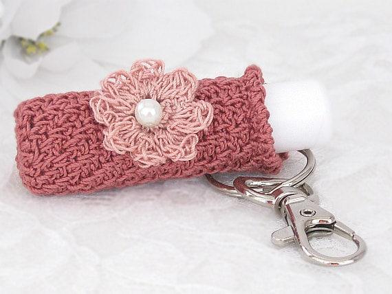 Lip Balm Holder, Keychain Key Holder in Dusty Rose with Crochet Mauve Flower