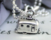 Retro Airstream Camper Sterling Silver Let's Go Camping - Tiny camper necklace