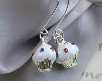 Cupcake enameled earrings