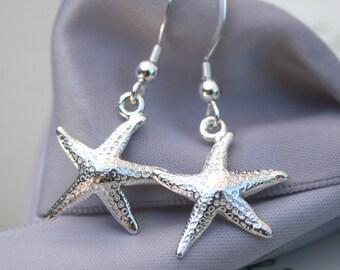 Sea Star Sterling Silver Starfish earrings