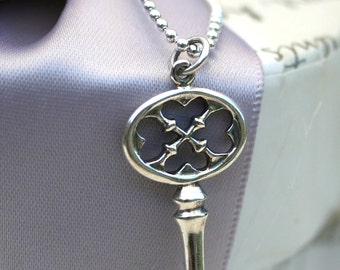 Sterling Silver Key Necklace - 16 or 18 inch Sterling chain included