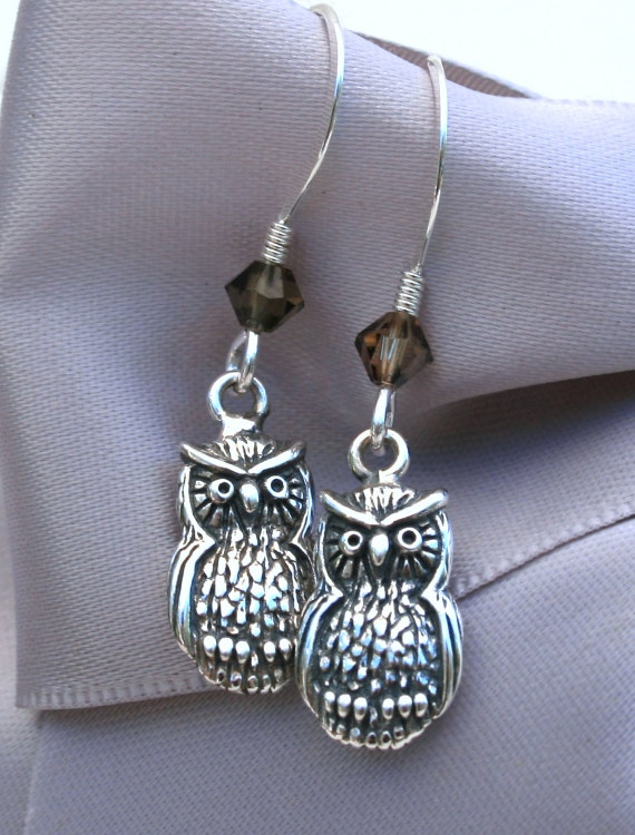 Owl earrings Sterling Owl charms