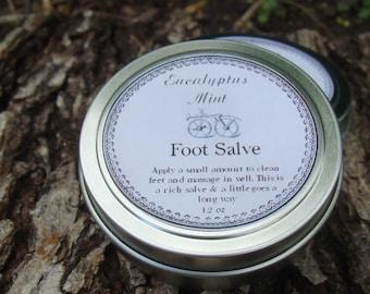 Eucalyptus Mint Foot Salve, Body Balm, Essential Oil Blend, Travel Tin, Runner Ointment, Walking Salve, Biker Balm, Facial Treatment