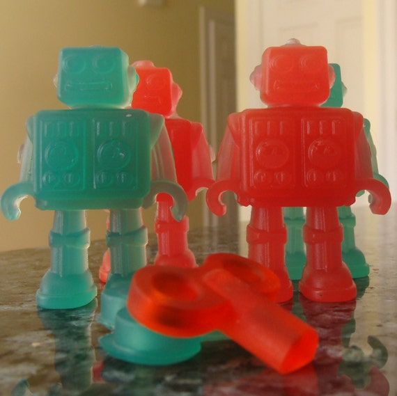 Robot Soap Set Christmas Space Fun Glycerin  Set of Two FREE SHIPPING ETSY