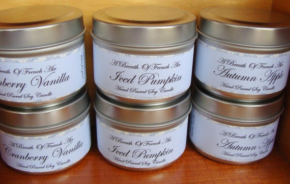 Autumn Harvest Delight - Pure Soy Wax Candles - Set Of 3 - Vegan - Iced Pumpkin, Cranberry Vanilla, Autumn Apple