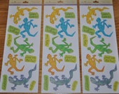 Leapin' Lizards Glitter Stickers 3 Sheets Child's Birthday Party