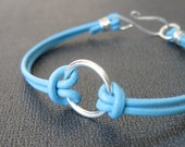 Reserved for Monica - Turquoise blue leather bracelet and Silver Necklace
