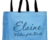 Mother of the Bride / Groom Personalized Embroidered Tote Bag  Bridesmaid Maid of Honor Bridal Party Gift