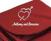 Personalized Bride Groom Embroidered Hearts Love  Fleece Blanket Wedding Anniversary Valentines DayGift Bridal