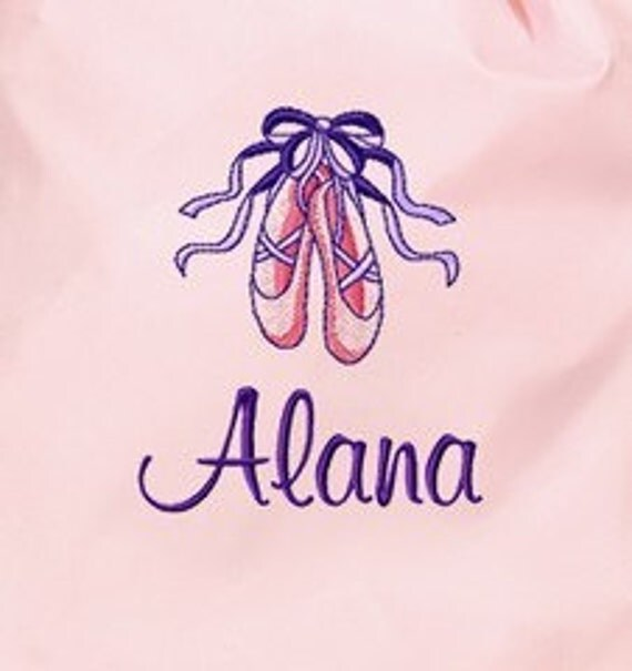 Personalized Ballerina Bag with Girls Name Dance Ballet Shoes Cinch Sack Back Pack Custom Embroidered