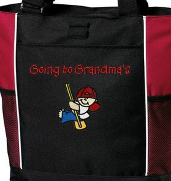 Personalized Going to Grandma's, Nana's, Grandma and Grandpa's Nana and Papa's House Boy or Girl Tote Bag Embroidered