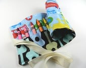 Free Shipping, Crayon Organizer with Cotton Twill Ribbon, Crayon Roll for Artsy Kids, Eco Friendly Stocking Stuffer