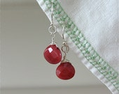 Cranberry dyed Jade Earrings