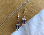 Swarovski Crystal cube earrings - Amethyst