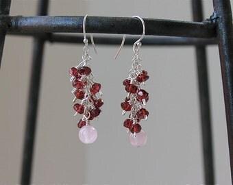 Cha Cha Earrings (Garnet and Rose Quartz)