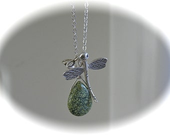Tiny Treasure necklace with Dragonfly, flower and Russian Serpentine pendants