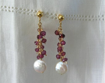 Custom made for Nora one of Cha Cha Earrings in 14K Gold Filled (Garnet and pearl)