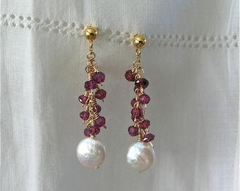 Cha Cha Earrings in 14K Gold Filled (Garnet and pearl)