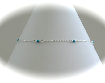 BEST SELLER - Turquoise and Sterling silver chain  Anklet