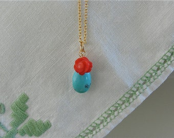 Turquoise pendant and Coral rose carved pendant on gold plated Chain necklace
