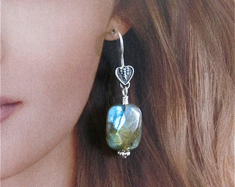 Labradolite faceted rectangle earrings