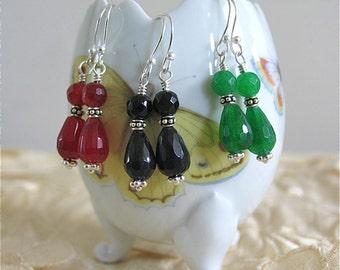 Cranberry Jade Tiara Earrings in Sterling silver