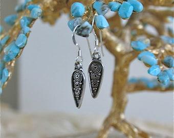 Tiny Treasure Earrings - Ocean swirl message