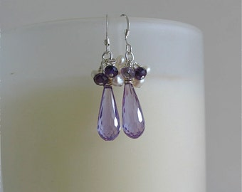 Cubic zirconia in Amethyst drop earrings