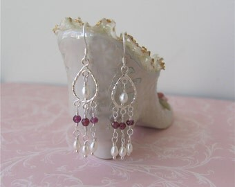 Garnet and Pearl Chandelier Earrings