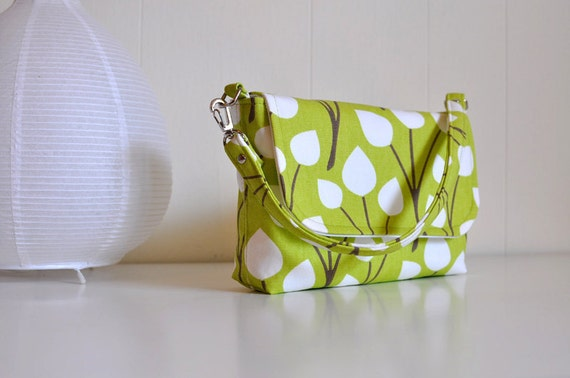 Diaper Clutch with Changing Pad - Botanical print on Lime Green