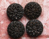 Four Hand Carved Bone Flower Beads