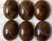 6 Vintage Earthtone Marbleized Cabochons 25x18