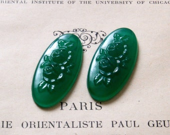 2 Amazing Vintage Green Glass Rose Cabochons