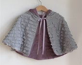 Purple Velveteen Ruffle Reversible toddler girls cape - size 12 - 18 months - fairy tale cape, cloak, coat, jacket