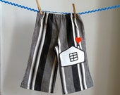 Toddler Pants for Girls or Boys - Appliqued house and heart - size 2T children's clothing - READY TO SHIP