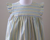 Pastel Stripe Toddler Girls Dress with Flutter Sleeves Size 3T - Empire Waist Little Girls Dress with Gathered Skirt - Blue, Yellow, Green