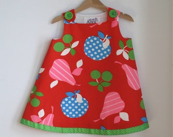 Psychedelic Fruit Toddler Girls Dress Size 3T - Pink Pear, Blue Apple, Green Cherry on Red - Funky Bright Frock for the Little Extrovert