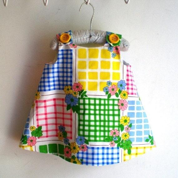 Rainbow Squares Retro Girls Dress | Kids Fashion for Newborn, Baby, Toddler Girls | Sizes Newborn to Girls 6 | Handmade Kids Clothing