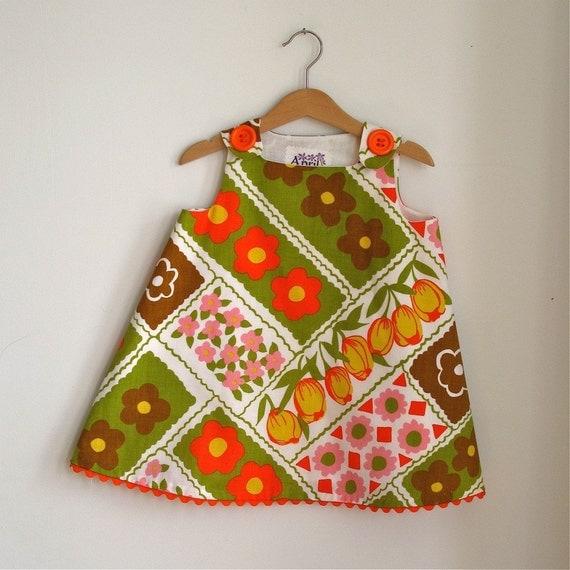 Newborn Dress, Toddler Dress, Girls Dress, Retro Vintage Hipster, Daisy Tulip - sizes newborn, 3m, 6m, 12m, 18m, 2t, 3t, 4t