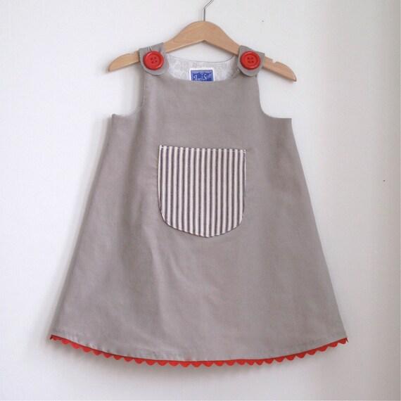 Ticking Pocket baby girls dress or toddler girl children's dress - sizes newborn, 3m, 6m, 12m, 18m, 2t, 3t, 4t