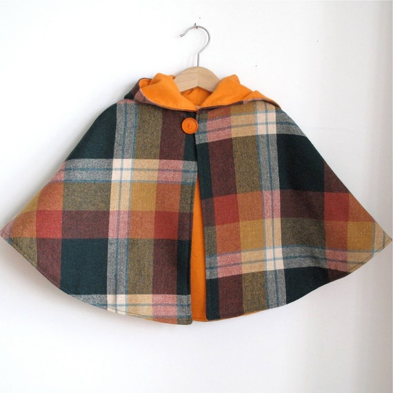 Wool Plaid and orange flannel hooded toddler Cape - size 4t