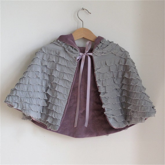 Purple Velveteen Ruffle Reversible toddler girls cape - size 12 - 18 months - fairy tale cape, cloak, coat, jacket