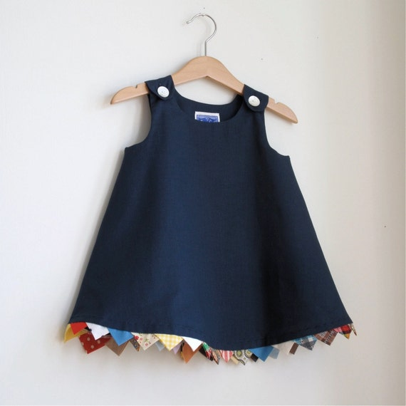 Party Flag Bunting navy toddler girls children's dress - size 12 -18 months