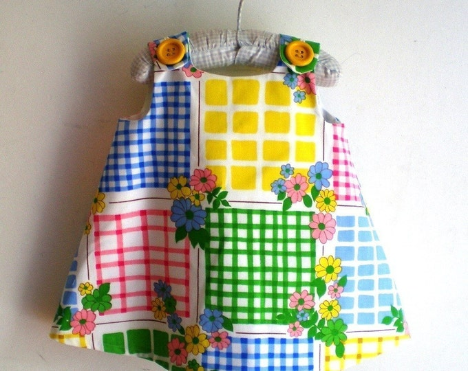 Rainbow Squares Retro Girls Dress, Toddler Dress, Baby Dress, Newborn Dress, Handmade Girls Dresses, Girls Sundress, Pinafore, Floral Dress