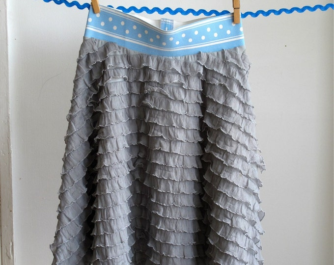 Grey Ruffle Girls Twirl Skirt, Girls Underskirt, Girls Petticoat, Circle Skirt - Size 12 - 18 Month to Girls Size 10 - Tween Skirt, Preteen